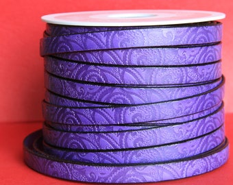 "MADE in EUROPE 24"" flat leather cord, embossed 10mm purple leather cord, engraved leather cord (503/10/39)"