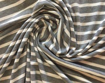 Striped Jersey Knit - Gray/White Stripe - Rayon & Lycra Blend - Knit Fabric By the Yard