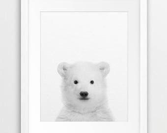 Bear Print, Polar Bear Wall Art, Bear Cub Photo, Black & White Animal Print, Modern Wall Art, Nursery Decor, Kids Room Prints, Printable Art