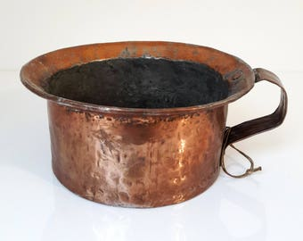 antique french copper pot, copper chamber pot