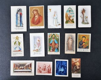 lot of french vintage prayer cards, holy cards, saint cards, christian saint cards, paper ephemera, prayer booklets