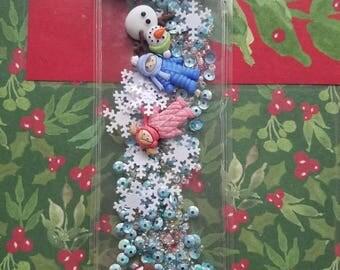 Winter laminated bookmark shaker
