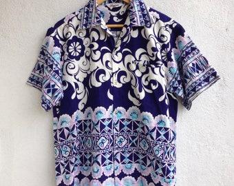 Vtg 60s Tropicana Hawaii Floral Shirt Aloha Hawaiian Outdoor Size M