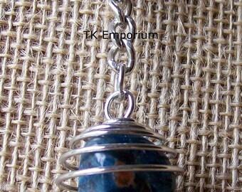 Blue Apatite Crystal in Silver Plated Spiral Keyring Key Chain Keychain / Inspiration Spiritual Guidance Public Speaking Manifestation