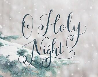 Christmas Wall Art, O Holy Night Print, Christmas Tree Art, Holiday Wall Art, Mantel Decor, Rustic Christmas Wall Art, Christmas Carol Art