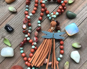 Transformation Mala - 108 Gemstone Beaded Mala - featuring: matte african turquoise, red jasper, and bracciated jasper, leather tassel
