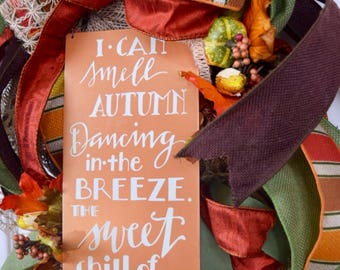 Smell Autumn Door Swag Wreath; Fall Rust Brown and Beige Wreath with Pumpkins Corn Cobs Leaves and Berries; Unique Fall Wreath Door Decor