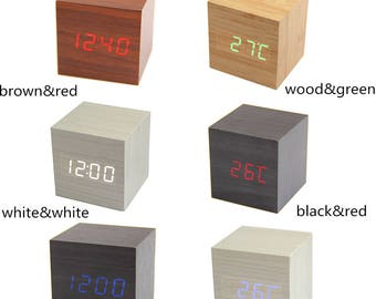 Latest Design Fashion Cube Mini LED Wooden Digital Alarm Clock -Time Temperature Date Display - Voice and Touch Activated(CTJZ21-WOODCLOCK-)
