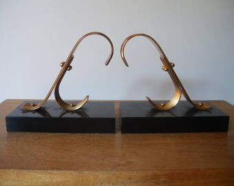 Modernist Book ends/Book ends / Marble and golden metal Book ends //1950s/1960s/ midcentury/ GOLD STARRY