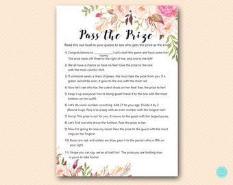 Boho Theme Baby Shower Games, Pass the Prize, Pass the Parcel Game, Baby Shower Games, Bridal Shower Games, Baby Shower Games BS546 TLC546