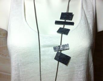 Gunmetal grey leather ETIKT necklace
