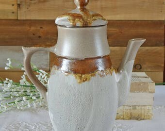 Vintage coffee pot  Pottery pitcher Laurentian Pottery 1970's Canada