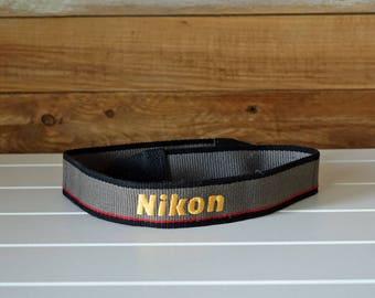 Vintage gray camera STRAP - NIKON strap