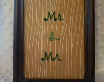 Mr. & Mr. 5x7 framed hand embroidered embroidery art on wood grain print fabric  wedding gift anniversary