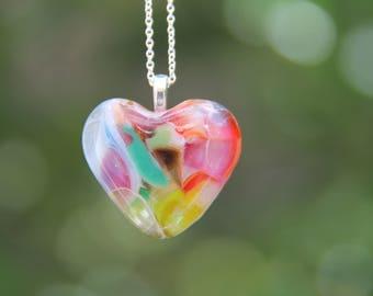 Heart dichroic glass pendant , multi-coloured heart pendant,  heart glass necklace,  fused glass necklace, fused glass pendant, birthday