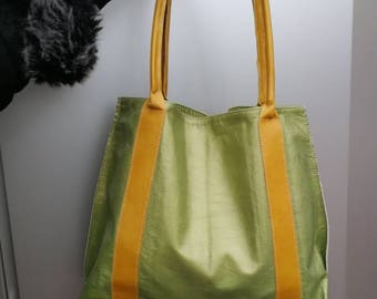 Shoulderbag,tote bag, leather shopping bag, Yellow and green handbag, women leather bag, leather purse