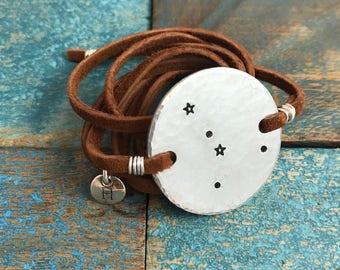Cancer constellation bracelet. Constellation jewelry. Zodiac sign jewely. Personalized zodiac jewelry. Wrap bracelet. Cancer jewelry. Cancer