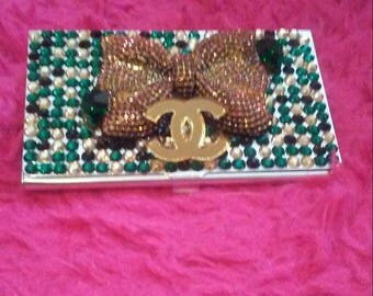 Green & Gold Swarovski business card case
