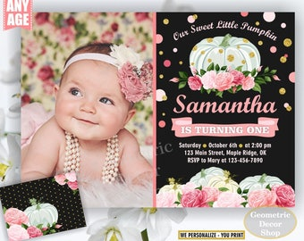 Pumpkin birthday invitation flowers fall pink rose blush white florals invite 1st floral girl shabby chic photo gold farm patch BDPumpkin17