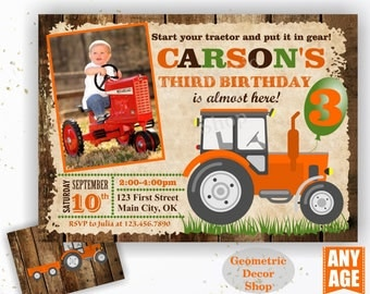 Tractor Birthday Invite, Orange Tractor Invitation Tractor Invitations Woodland Rustic Wood Invite Digital File Boy Girl Photo Photograph 26