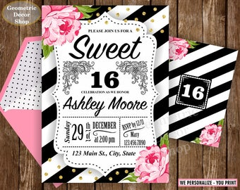 SWEET 16 / sweet / 16 / invitation / gold / 16th / Birthday / floral / black / white / pink / invite / rose / flowers / stripes / BD16_4