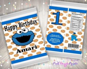 Cookie Monster Custom Potato Chip Bag- Cookie Bag- Party Favor Bag- Digital File ONLY