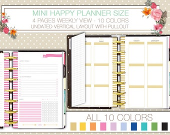 Mini happy planner printable undated weekly planner on 4 pages with pullout vertical layout WO4P notes and tracker