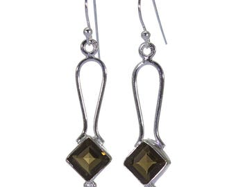 Smoky Quartz Earrings, 925 Sterling Silver, Unique only 1 piece available! color brown, weight 3g, #40477