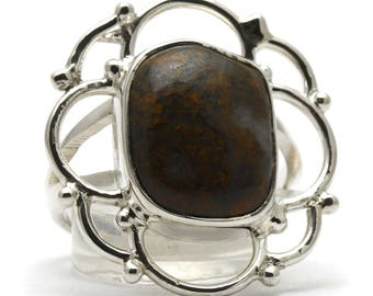 Bronzite Ring, 925 Sterling Silver, Unique only 1 piece available! SIZE 7.75 (inner diameter 18mm), color brown, weight 6g, #33830