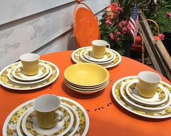 Vintage Dinnerware Mikasa Cera Stone Daisies #3178 Made in Japan, Mid Century Dinnerware