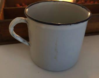 Vintage Enamel Cup Stamped Germany, Enamel, Drinkware, Country Kitchen Decor