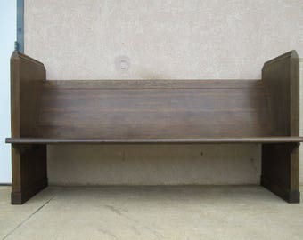 Antique Victorian Gothic Tiger Oak Carved Church Railroad Deacons Bench Pew B