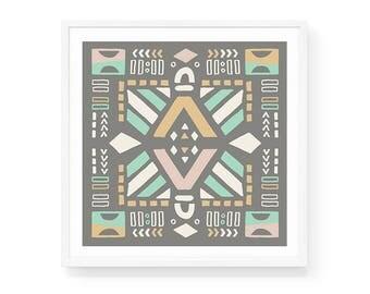 Tribal Pastels Art Print | 6x6 & 8x8 | Southwestern, Aztec, Scandinavian, Geometric, Hand-drawn, Pattern, Square, Small Print, Wall Accent