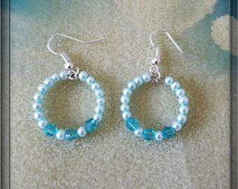 Blue Pearl & Crystal Dainty Small Hoop Earrings