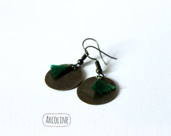Green Mini tassel earrings