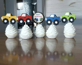 12 Personalized Monster Truck Cupcake Toppers