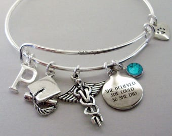 """Personalized Veterinarian / Graduation  """"She Believed She Could So She Did"""" Bangle W/ Birthstone - Initial - College Gifts / Under 20 30 C1"""