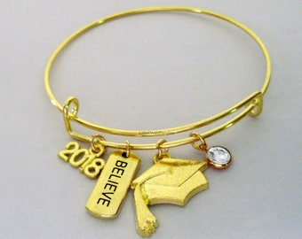 2018 GOLD Believe  Graduation Charm W/ BIRTHSTONE Bangle - Birthday Gift Graduation Day Personalize  High School College Gift For Her Usa G1