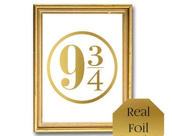 Harry Potter Wall Art, Hogwarts Express, 9 3/4 Gold foil print, Fandom Harry Potter Nursery Decor, Dorm Room