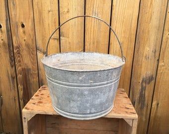 Galvanized Bucket Flower Tub Large Metal Wash Tub Water Pail