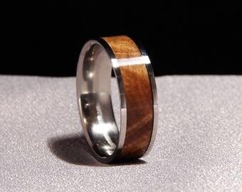 Bimble Box Burl and Titanium ring, Burl wood inlay ring, Australian Burl wood ring, Bimble Box ring, burl wood and titanium ring