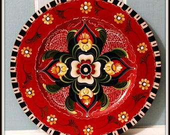 "10 "" Wooden plate,Rogaland Rosemaling"