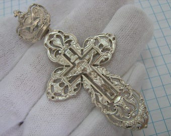 SOLID 925 Sterling Silver Detailed Big Large CROSS Pendant Jesus Crucifix Russian Cyrillic Inscription Спаси и сохрани Filigree Openwork