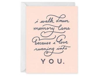 Love Card - Romantic Card - Single Card - Memory Lane Card Blank Inside
