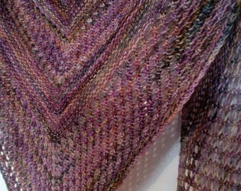 Handknitted Shawlette/shawl called Reyna in handdyed Malabrigo macheta yarn 100% superwash merino yarn *Ready to Ship*