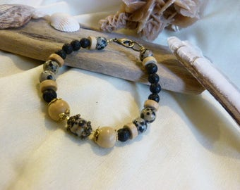 Mixed bracelet ethnic and African lithotheratie lava + Jasper leopard + wood