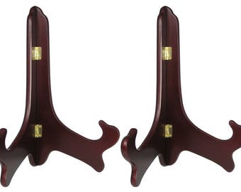 Mahogany Wooden Easel Premium Quality Plate Holder Folding Display Stand 11 Inch Set of 2 Pieces  #1332-11