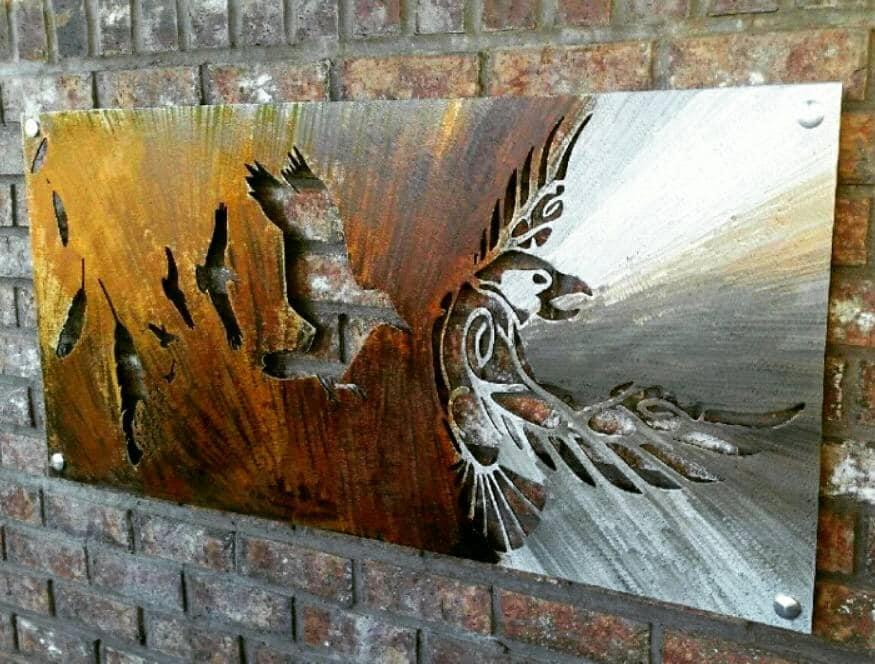 Decorative Scrap Metal : Odin odins raven viking wall art metal tribal
