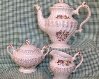 Myott Symphony Olde Chelsea Tea Set, Teapot Creamer Covered Sugar Bowl, Creamware Staffordshire England 3 Piece Tea Set