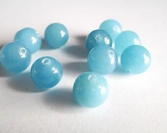 sky blue natural jade 10mm 10 beads